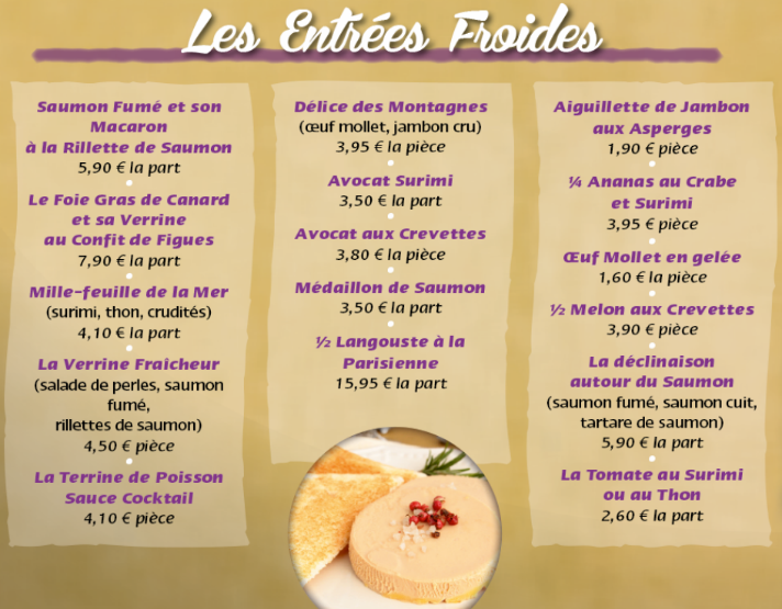 Entrees froides boucherie decoster traiteur decoster for Menu entree froide